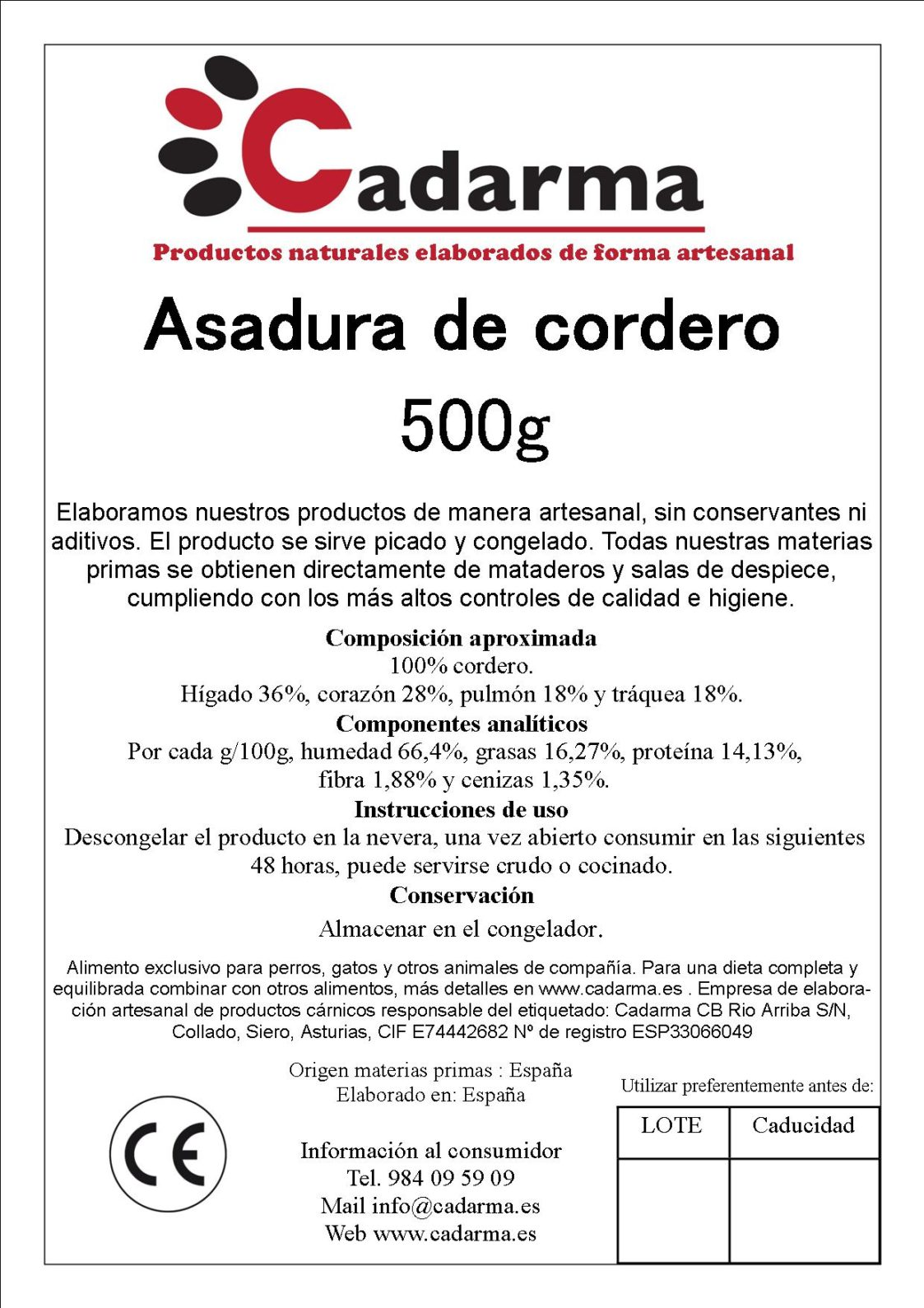 etiqueta 11 ASADURA DE CORDERO